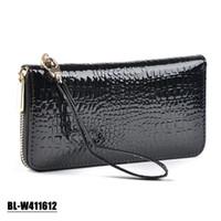 genuine leather wallet - 2015 New Alligator Cowhide Patent leather Purse Women Wallets Genuine leather Guarantee Women s Wallet Multifunction