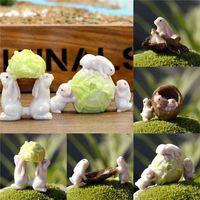 Wholesale New Arrival Synthetic Resin Miniature Dollhouse FAIRY GARDEN Bunnies Walnut So Cute order lt no track