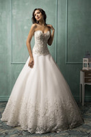 Wholesale Princess Vintage Wedding Wedding Dresses Lace Applique Beads Formal Bridal Gowns With Sweetheart Neck Covered Button Long Train Gowns
