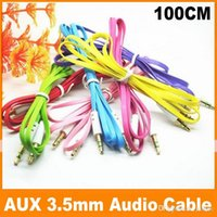 Wholesale Colorful Flat Noodle mm Aux Audio Auxiliary Cable Jack Male to Male Plug Stereo Cord Wire for iphone s s Mp3 Players Speakers JF