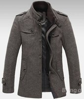 Stand Collar tweed jacket - Mens Knitted Stand Collar Wool Blend Tweed Coats Long Jackets