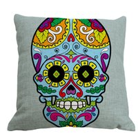 Cheap Hot Indian cotton pillow cover creative Halloween skull home bed cushion cover