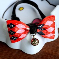 Wholesale 1Pc Puppy Kitten Necktie Collar Colors Safety Dog Cat Pet Collar Cute Bow Tie Dog Collars With Bell