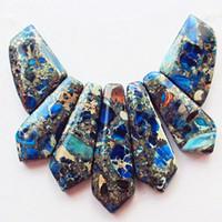 Wholesale Exquisite Blue Sea Sediment Jasper Pyrite Pendant Bead Set