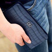 Wholesale CKJ Brand Men zipper wallet zipper pocket male clutch multifunction genuine leather wallets long cellphone bag big capacity
