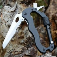 Wholesale Hot Sale EDC GEAR In Outdoor Survival Aluminum Multifunctional Knife Screwdrivers Carabiner J2 stainless blade