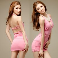 Wholesale Lingerie nightclub OL secretary conjoined hang tight neck backless sexy ultra short girl costumes for halloween australia crotchless