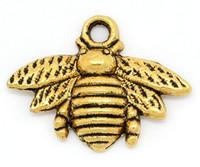 al por mayor antiguos encantos de oro para collares-Los colgantes del encanto de la abeja dorado y antiguos 21x16mm plata, 50PCs (B28811) en forma de la manera del collar de la pulsera
