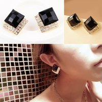 art deco style earrings - New Black Faceted Rhinestone Square Earrings Ear Stud Art Deco Style Gold Black Color Drop Shipping EAR BK br
