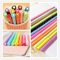 Wholesale Student Watercolors Fashion Student Heart and Diamond Head Pen Hot Girls Creative Polka Dots and Plastic Neutral Pen Color