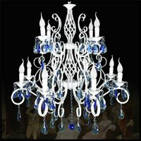 antique crystal lustres - 2015 Luxury Rustic Wrought Iron Crystal Chandelier E14 LED Big White Double Candelabra Vintage Antique Pendant Lamp lustres modern