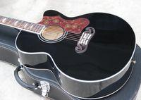 Wholesale Hot selling black acoustic guitar inch jumbo cut away string acoustic electric guitar