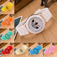 Wholesale Fashion Geneva WATCHES men women chlidren jelly Silicone metal wristwatch candy colors colorful watches Christmas gift
