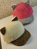baseballs freights - free freight Rabbit fur leopard print cat hat ears baseball cap female autumn and winter