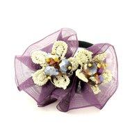Wholesale GUST Brand New Lace Yarn Rhinestone Dating Crystal Ponytail Flower Jewelry Holder Hair Holder Dress Women Accessories Girl BA204