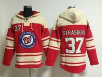 Wholesale Washington Hoodies Red Nationals Stephen Strasburg Lace Up Pullover Hooded Sweatshirt New Arrival Sportswear Sweater with Hat for Men