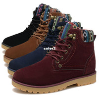 Wholesale 2014 British style winter shoes woman snow suede boots flat heels martin boots men chaussure femme botines mujer