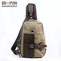 Wholesale TSD Youngerbaby Canvas Unbalance Pack vintage Crossbody Bag Shoulder Bag Chest Bag for Men Khaki