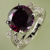 Wholesale Luxury AR1 CT Round Cut Purple Amethyst White Topaz Silver Rings Size Gemstone Ring Beauty Wedding Ring A0018
