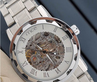add tags - silver polished men white hollow face watch brand MCE skeleton mechanical watch add free box