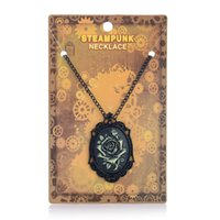 anniversary frame - Steampunk Pendant Necklace Black Rose Pattern Frames Steam Punk Rose Charm Jewelry Hip Hop Style Rock Men