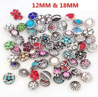 Wholesale Mix Designs Fashion Snap Button mm mm Shiny Crystal Rhinestone Chunk Buttons DIY For Bracelet Necklace Fine Jewelry DCBJ241