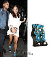 Wholesale Short Wedges Sandals - Short summer boots embellished suede shoe shiny stilettos ankle strap blue beaded sandals crystal high heels