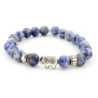 Wholesale Factory Fast sell through the explosion of Europe and the United States lava Rock Natural Agate Elephant men and Women Bracelet je