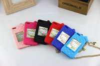 Wholesale Cases For iphone S S galaxy note Hello Kitty Cartoon Cases With Mirror And Chain Cute MM Bean Silicone Soft Case Cover CPC048