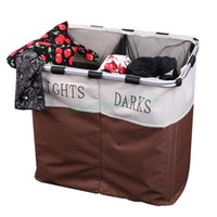 Wholesale 2015 New Sections Foldable Laundry Basket Double Washing Clothes Sorter Basket Bin Storage Hamper us6