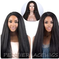 14 kinky straight lace wigs - Brazilian virgin human hair Kinky Straight Nautral lace closure natural Hair Line Baby Hair Glueless Full Lace or Lace Front Wigs For Women