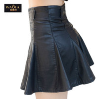 Wholesale fashion comfortable sexy pleated black bottoming female pu leather skirt skirts womens plus size S XL casual saias