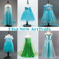 Wholesale New Arrivals Baby Girls Princess Dress Frozen Queen Elsa Anna Cosplay Dresses for Girl Infantis Kids Party Costume Clothes Christmas Gift