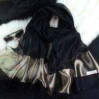 Wholesale new silk women scarf color fashion black stitching gold silk scarf silk scarves cotton shawls brand wj0120