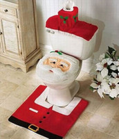 Wholesale Novelty Christmas Decoration Ornaments Santa Claus Toilet Tank Lid Cover Mats Holiday New Year Supplies GOK