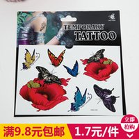 Wholesale Realistic stereo D tattoo stickers waterproof new female sexy nightclub rose butterfly tattoo stickers cover up the scars