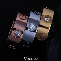 cz stones - Stainless Steel Brand Ring Fast Colours Fashion Screw Style Colors with CZ Stone VR Vocheng Jewelry