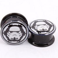 acrylic logos - Factory Direct Sales Acrylic Black STAR WARS LOGO Ear Gauge Plug And Tunnel Screw Fit Plug Piercing Internally Screw