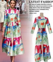 big house clothing - 2015 Women Dresses House Graffiti Printing Round Neck Dresses Lady Ladies Clothing For Big Girls Dresses B3766