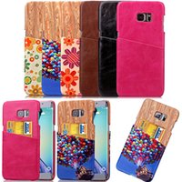 wood flower - For Samsung Galaxy S6 EDGE Plus Grand Core Prime G360 G530 A3 Flower Wood skin Card Slots PU leather back cover case cases