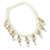 Wholesale New Popular Women Stretch Pearl Anklet Chain Punk Rock Fashion Jewelry Nice Gift