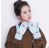 Wholesale Wool warm gloves in the fall and winter of female Han edition of lovely students of literature and art Add wool in winter cycling thickened