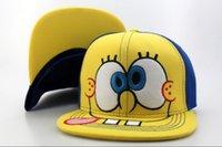 CALIENTE! Al por mayor de calidad superior Bob Esponja Snapback del casquillo de la historieta Snapbacks populares Equipada Casquillo ajustable del sombrero Hombre Mujer Fashion Street Sombreros barato