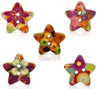 Cheap 100 Mixed Star Shape Wood Sewing Buttons 18x17mm