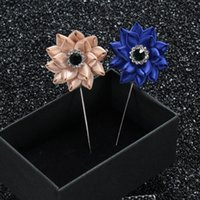 alloy steel insert - 2016 New Arrival Mens Wedding Bridegroom Lapel Pin Insert Long Brooches Handmade Men s Suits Flower Brooches for Men Accessories