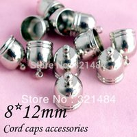 Cheap Rhodium Dull Silver Plated 1000piece 8x12mm Cord end caps, cord crimp ends for leather cord 7mm necklace bracelet diy