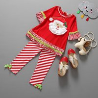 Wholesale 2 piece Beard Christmas Grandpa Red Coat Stripes Pants Suits New Year Kids Outfits Children s Fashion Outfits
