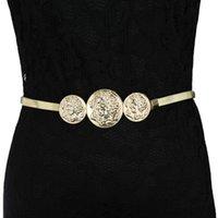 active human - New Fashion Human Head Dolphin Belts Women Designer High Quality Metal Stretch Brand Belt Vintage Slinky Skinny Belt Gold Silver