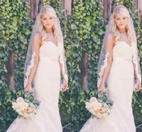 Wholesale 2017 Custom Made White Ivory Wedding Veils Wrist Length Lace Edge Cheap Tulle Bridal Veils