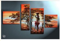 africa lakes - hand painted Africa beauty the lake forest decoration abstract Landscape oil painting on canvas p